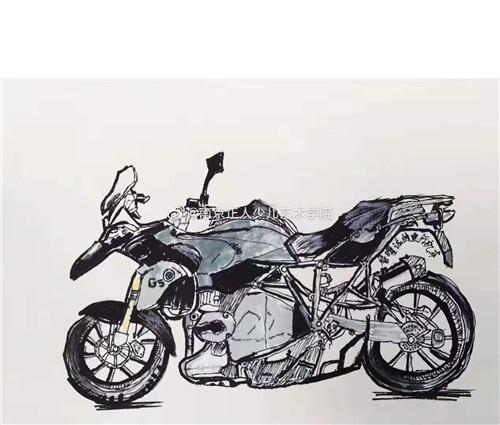 少儿美术——摩托车